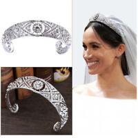 Rhinestone Crystal Meghan Wedding Crown Queen Mary Bandeau Tiara For Women