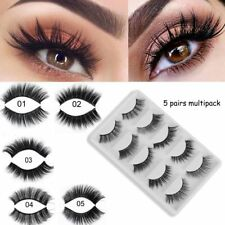 SKONHED 5Pairs Multipack Faux Mink Hair False Eyelashes Thick Long Fluffy