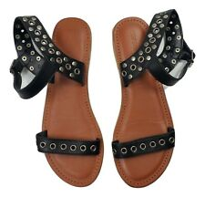 TOPSHOP Black Leather Silver Open Circle Grommets Buckle Sandal 41 US 10.5