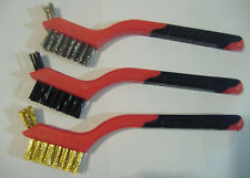 LOT OF THREE BRASS, STAINLESS STEEL & NYLON MINI WIRE DETAIL BRUSHES