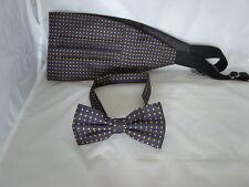 (021) Navy Blue with Yellow Polka Dots-100% Silk Mens Bow Tie and Cummerbund Set