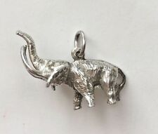 * Vintage Sterling Silver Dimensional Detailed HEAVY Elephant Charm Pendant