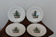 "NIKKO HAPPY HOLIDAYS CHRISTMAS TREE 7-3/4"" SALAD / DESSERT PLATES ~ SET OF 4"