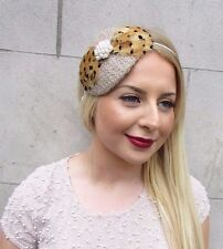 Beige Ivory Light Brown Feather Fascinator Vintage Headband Races 1940s 30s 2632