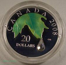 2008 CANADA $20 FINE SILVER COIN CRYSTAL RAINDROP BOX/COA MINT LQQK RARE