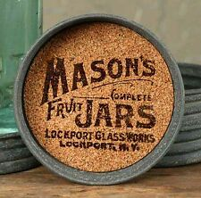 Unique Primitive Rustic Country LOCKPORT Mason's Fruit Jar Lid Coaster Lot Set 4