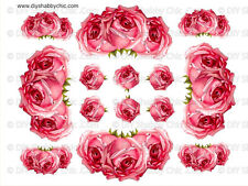 FRENCH FURNITURE DECAL DIY SHABBY CHIC IMAGE TRANSFER VINTAGE PINK ROSE FLOWER