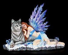 Elfen Figur mit Wolf - Lupiana - Fee Winter Kristall-Flügel