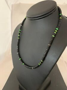 Native American Green Turquoise Heishi Onyx Sterling Silver Men's Necklace 4686
