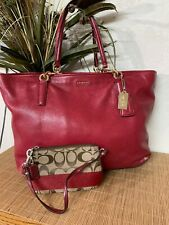 COACH Signature Wrist Let With Coach Red Leather  Madison Tote Shoulder Bag