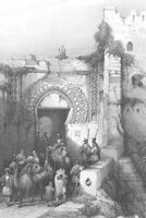 MOROCCO, TANGIER KASBAH GATE MOORISH ARCHITECTURE ~ Old 1837 Art Print Engraving