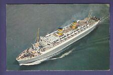 1961 SS Nieuw Amsterdam @ Sea - Vintage Color Postcard - Holland America Line
