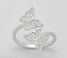 Solid Sterling Silver SPARKLING Butterfly Duo Ring $100 sz8 SO PRETTY