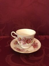 Vintage Rare Queen Anne Tea Cup and Saucer White with Multi-Color Flowers
