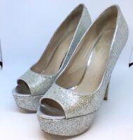 Aldo Ladies Size 5 Glitter High Heels Peep Toe Stiletto Shoes