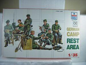 Esci/Ertl German Camp Rest Area Model Figure Kit of 7 in 1/35 Scale