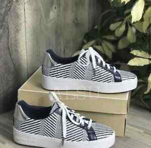 Sneakers Women's Michael Kors Poppy Lace Up Diagonal Weave Navy 49S9POFS3D