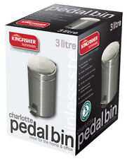 Kingfisher Stainless Steel Pedal Bin - 3L Litre - Ideal for Home and Office Use