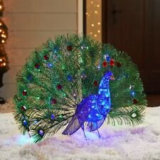 3 Foot Lighted Blue Peacock Sculpture Outdoor Christmas Yard Decor Lawn Display