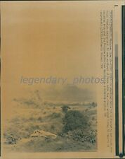 1991 Ash Clouds from Mount Pinatubo Dwarf Native Hut Original Laserphoto