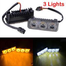 2Pcs 3 LED Car White Daytime Running Light DRL Amber Turn Signal Front Fog Lamp
