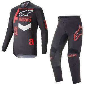 Alpinestars 2021 Adult Fluid Chaser Black Red Motocross MX Gear Kit Combo