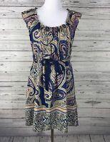 GLAM Women's Pink / Blue / Green Elastic Neck Drawstring Waist Dress Size Medium