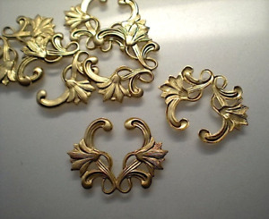 6 brass floral stampings