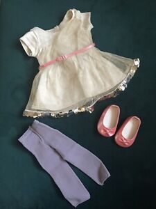 American Girl Doll ISABELLE Metallic Dress Outfit EUC Dress Tights Shoes Belt