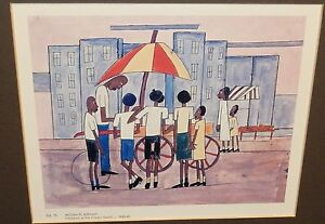 """WILLIAM H.JOHNSON """"CHILDREN AT ICE CREAM STAND"""" COLOR OFFSET LITHOGRAPH"""