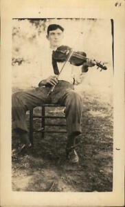 Music/Performer RPPC Man Seated Outdoors Playing Violin Real Photo Post Card