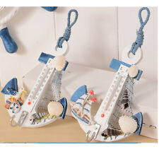 1* Hanging Hook Wood Anchor Thermometer Shell Nautical Conch Wall Door Decor New