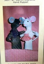 Vtg 80s hand puppet craft sewing pattern Mr & Mrs Mouse to make