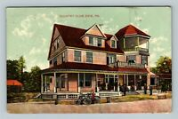 Erie PA, Country Club Building, Bicycle's Vintage Pennsylvania c1910 Postcard