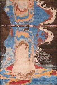 6x8 Abstract Modern Oriental Area Rug Hand-knotted Contemporary Wool Home Decor