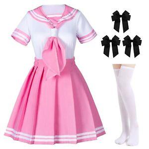 Classic Japanese Anime School Girls Pink Sailor Dress Shirts Uniform Cosplay ...