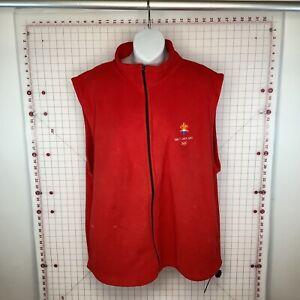 Salt Lake City 2002 Official Merch 2002 Olympics Red Sleeveless Sweatshirt Zipup