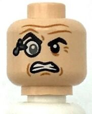 Lego New Minifigure Head Glasses Monocle Raised Right Eyebrow Wrinkles Clenche
