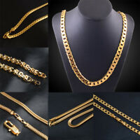 Fashion Men Women 18K Gold Plated Snake Chain Link Flat Chain Necklace 20Inch