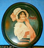 Vintage Oval Tin Serving Tray Coca-Cola Betty Girl Victorian Lady - repro