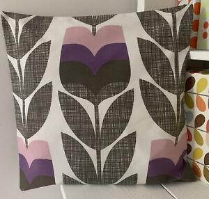 Orla Kiely Cushion Cover Pink Purple, Squiggle,             Handmade In Cornwall