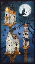 Spooky Raven Moon House Fabric Panel