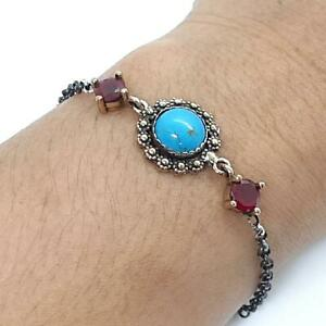 Deco 6.65ctw Turquoise & Ruby 14K Yellow Gold Silver Bracelet 7.4g
