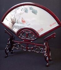 Belle Broderie Chine soie éventail Old chinese embroidery silk mark signed fan