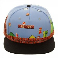NINTENDO SUPER MARIO 8 BIT PIXEL ALL OVER SCENE SNAPBACK HAT CAP FLAT BILL RETRO