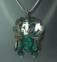 "AZTEC WARRIOR Pendant Necklace 1940s Mexico STERLING GREEN CHALCEDONY 20"" Chain"