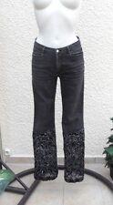 Jeans Noir Délavé  Morgane Bas Ajouré Avec De La Résille Noire Taille 38