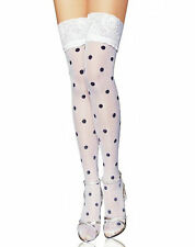 White With Black Polka Dot Thigh High Stockings with Lace top BS8080