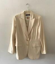 Anne Klein Women's Blazer Jacket 100% Wool Size 12 Beige
