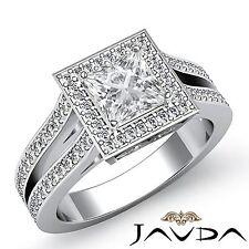 Princess Diamond Halo Set Engagement GIA H VS2 Platinum Split Shank Ring 2.4ct
